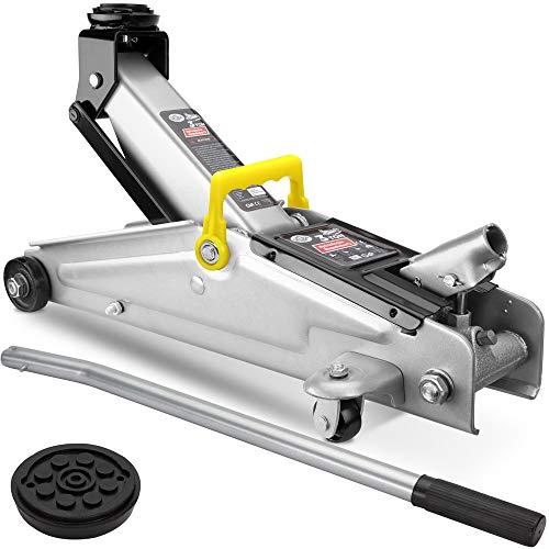 Deuba Cric idraulico per auto 3 tonnellatte maniglia rotelle manovrabile cuscinetto in gomma martinetto sollevatore