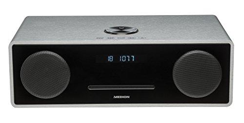 Medion X64777 All-in-One Micro-Audio-System Life (Bluetooth, USB-Anschluss, 2x 25 Watt RMS Ausgangsleistung, UKW mit PLL-Tuner) silber