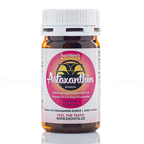 VitalAstin Astaxanthin 90 Bonbons à 4mg vegan & zuckerfrei I Das Original - Ivarssons VitalAstin zum Lutschen mit 4 mg natürlichem Astaxanthin pro Bonbon & Vitamin B12