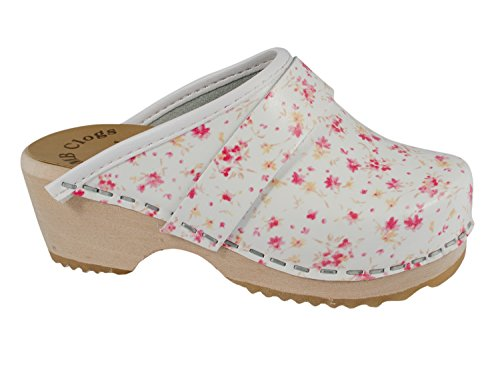 MB Clogs Kids Mini Summer Flower Clog - Zuecos para niña, color blanco, talla 10 UK