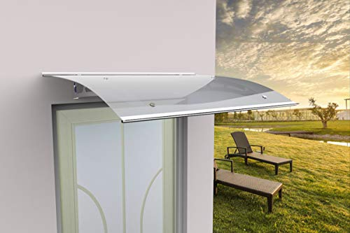 SCHARTEC Aluminium-Vordach gewölbt als Haustürvordach in 120 oder 150 cm Breite - Vordach für Haustür Überdachung (1500 x 900 mm)