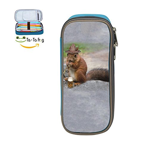 bagshome Large Capacity Canvas Pen Box Holder for Girl,Print Trumpet Squirrel,Blue