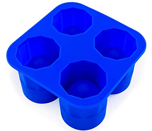 Ice Shot-Gläser, Silikonorm Eisglas, Stamperl, Gefrorene Becher, Cookie-Shots, Eiswürfel, Glas aus EIS, Shotgläser, Schnapsglöäser, Backform, Farbe: Blau