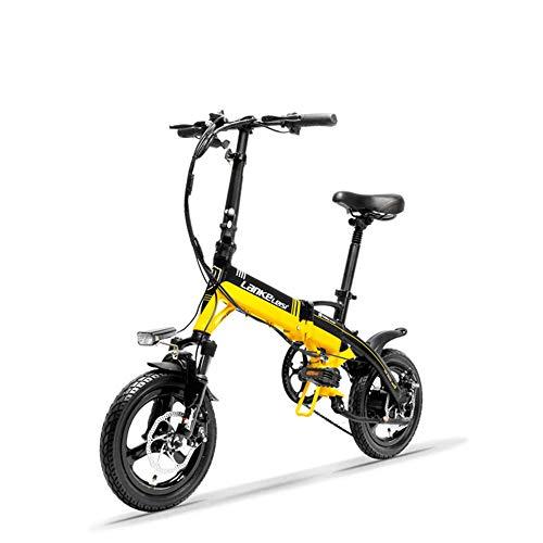 LANKELEISI A6 Mini Bicicletta Pieghevole Portatile E, Bicicletta elettrica da 14 Pollici, Motore 36V 400W, Cerchio in Lega di magnesio, Forcella di Sospensione (Nero Giallo, Standard)