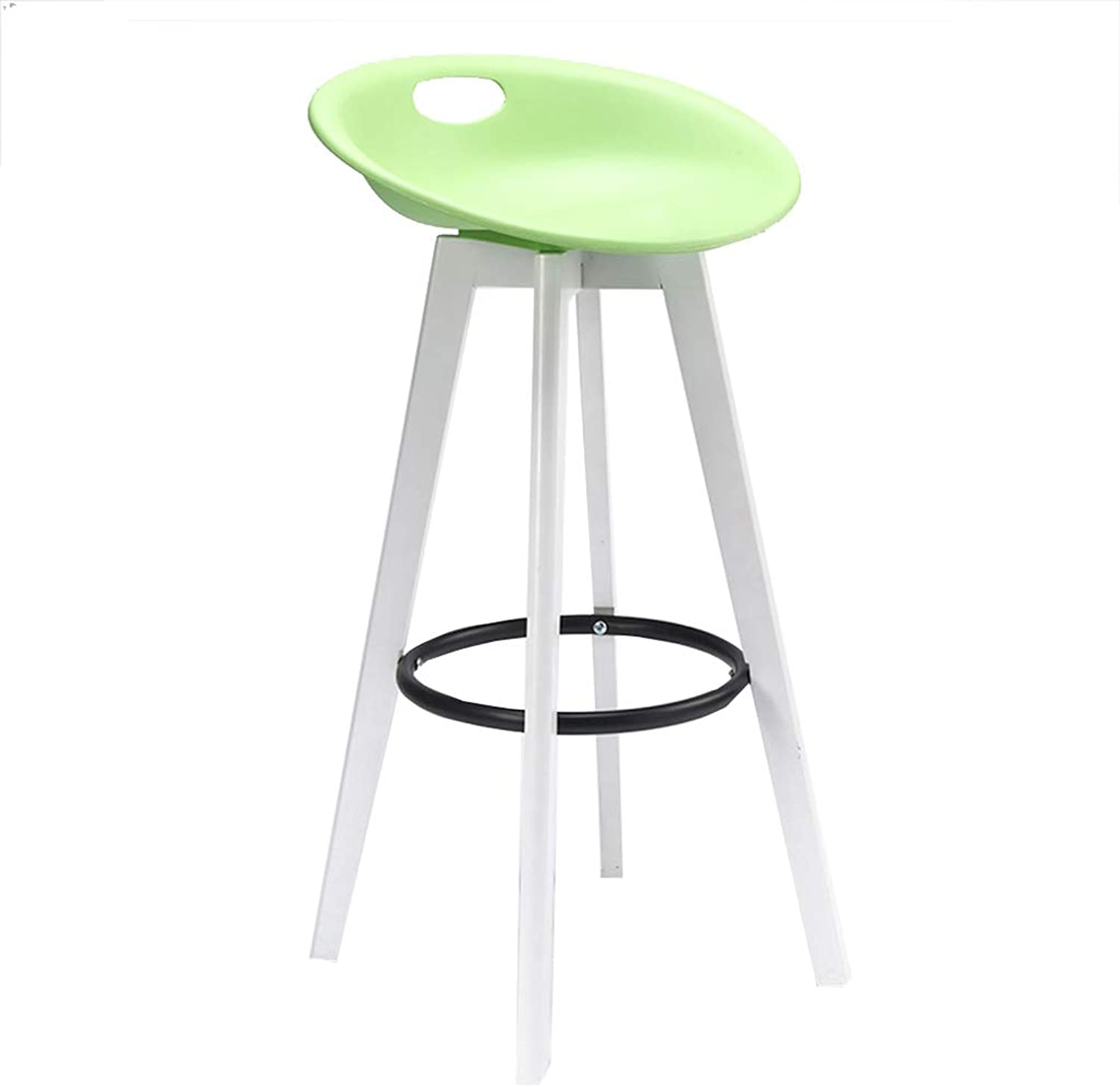 Barstools Portable Bar Stool Breakfast Pub Kitchen Dining Chair Counter Modern White Solid Wood Frame PP Ergonomics Seat Max Load 120kg (color   Green, Size   73cm)