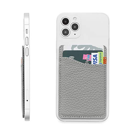 MISXIAO Genuine Leather Phone Card Holder for Back of Phone, Adhesive Stick-on Credit Card Wallet Pocket for iPhone, Android and Most Smartphones- Grey