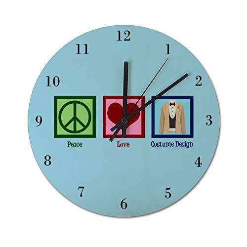 Reloj de pared de madera rstico con diseo de disfraz de paz y amor silencioso y no hace tictac, reloj de pared redondo, fcil de leer, 30 x 30 cm