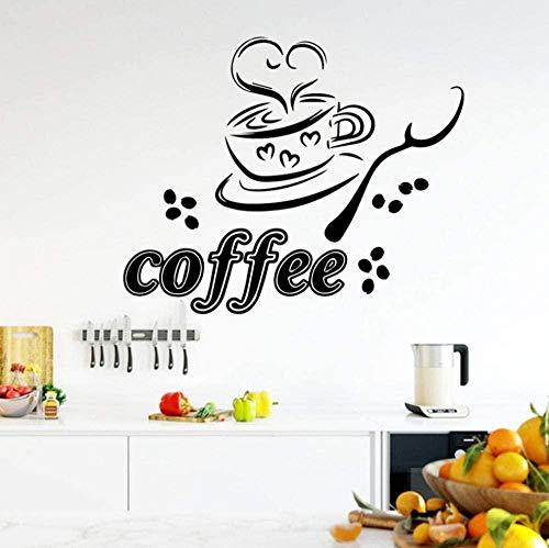 Muursticker wandklok wandklok lepel kop koffie keuken koffie restaurant 58 x 47 cm