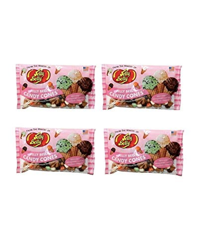 Jelly Belly Candy Cones Ice Cream Flavored Mellocreme Easter Candy - Pack of 4 Bags - 8.5 oz per Bag - French Vanilla, Orange Sherbet, Mint Chip, Chocolate, Strawberry Alaska