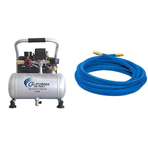 California Air Tools CAT-1P1060S Light & Quiet Portable Air Compressor, Silver & Campbell Hausfeld 25' Air Hose (PA117701AV)