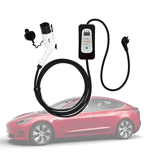 wansosuper Estación De Carga Rápida De Coche Eléctrico Tipo 2 para Tesla Model 3, Cargador De Coche Eléctrico Conmutable 8/10/13 / 16A Cable De Carga para El Hogar - 5 M