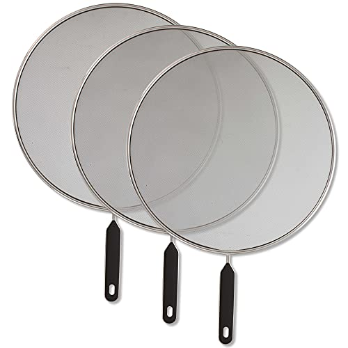 U.S. Kitchen Supply Set of 3 Classic 13' Splatter Screens - Stainless Steel Fine Mesh, Comfort Grip Handles - Use on Boiling Pots Frying Pans - Grease Oil Guard, Safe Cooking Splash Protection Lid