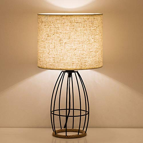 Minimalist Bedside Table Lamp - Bedside Desk Lamps Nightstand Lamp Design - Modern Metal Basket Cage Style Hollowed Out Chrome Metal Base with Linen Fabric Shade Lamps for Bedrooms Office Gifts