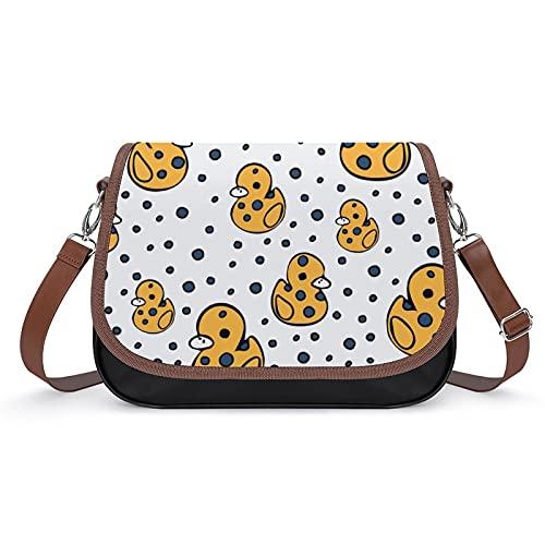 Xingruyun Bolsos Bandolera Para Mujer Pequeño Pato Bolsos De Hombro Cuero Shoulder Bag Grande Capacidad Cartera Para Escuela Viaje Oficina 31x22x11cm