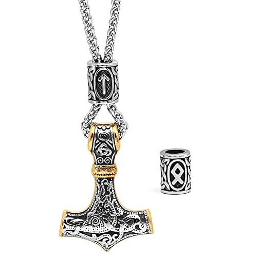 GuoShuang Viking Thor Hammer Mjolnir Necklace for Men Rune Amulet noridc Jewelry Viking Gift for Men (Between Gold)