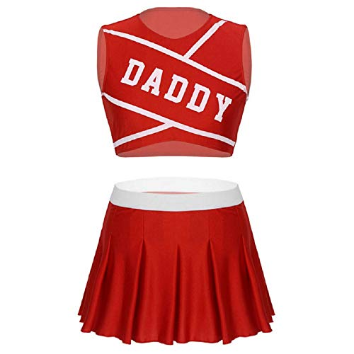 BellaPunk Damen Cheerleading Uniform Minirock und Tops Sexy Cosplay Kostüm (Orange, XS)