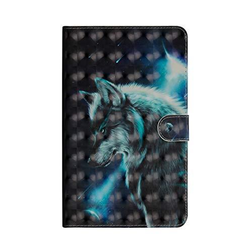 Huawei Mediapad M5 8.4 Zoll Hülle,JAWSEU Huawei Mediapad M5 8.4 Zoll Lederhülle - Smart Cover Tablet Hülle Cool Wölfe 3D Muster PU Leder Flip Hülle Wallet Tasche Schutzhülle mit Ständer