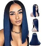 Royalvirgin Peluca Ombre azul con raíces oscuras larga recta ninguno Encaje Pelucas para mujeres parte media sintética resistente al calor peluca de reemplazo de pelo