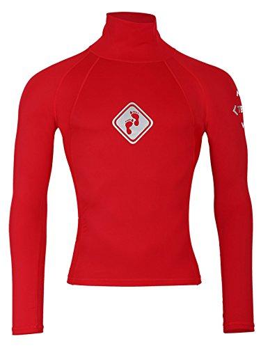Two Bare Feet T-shirt à manches longues en Lycra UV50, Homme, Rouge, s