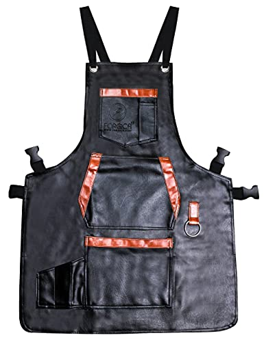 FORGICA Professional PU Leather chef Apron for Men, Hair Cutting Hairdressing mens Aprons for Women Cape for Salon Hairstylist - Barber accessories- Adjustable with 8 pockets -Black