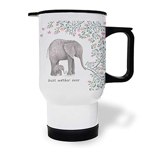 15 OZ Stainless Steel Car Cup with Handle, Elephant Best Mother Ever and Flowers Travel Coffee Mug Cup Heated Thermos for Heating Water, Coffee, Tea Milk, Gift