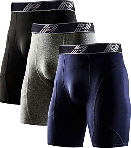 HOPLYNN Pack de 3 mallas de compresión para hombre, ropa interior funcional, de secado rápido, para correr, fútbol, ropa interior deportiva, Hombre, Pantalones cortos, 1035, Negro/gris/azul., large