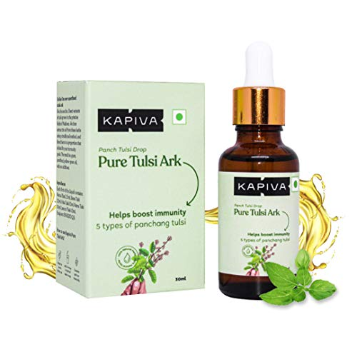 Kapiva Pure Tulsi Ark Drops – Natural taste, color, and smell – 5 types of pure Tulsi, Natural Immunity Booster – 30 Ml | Just 2 drops in Tea or warm water