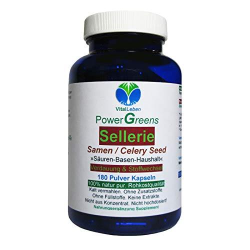Sellerie Samen Celery Seed nach Hildegard von Bingen 180 Pulver Kapseln. SÄURE BASEN HAUSHALT Verdauung & Stoffwechsel NATUR pur - OHNE ZUSAZSTOFFE. 26600-180