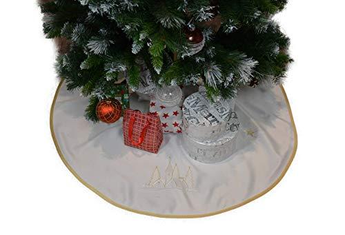 Weihnachtsbaum Rock Weihnachtsbaumdecke Christbaumständerhülle Weihnachtsbaum Christbaum Unterlage Tannenbaum-Unterlage Weihnachten Geschenk Idee Bestickt Klettverschluss ca.90 cm Ecru