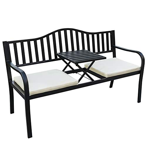 Sundale Outdoor 2 Person Wicker Loveseat Glider Bench Chair...