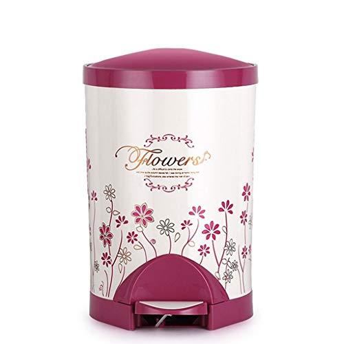 Minmin Contenedor de Pedales de 9 litros, Cubo de Basura con Tapas y cubeta Interior de plástico para el baño en casa Cocina Dormitorio (Color : B, Size : S)