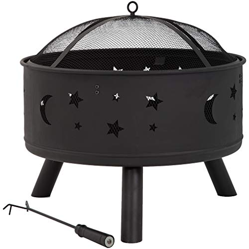 """FDW 24"""" FirePit Round FirePit Metal Fire Bowl Fireplace Backyard Patio Garden Stove for Camping, Outdoor Heating, Bonfire, Picnic, Black"""