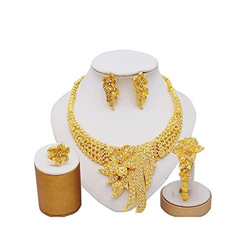 XiaoG Etiopía 24k Color de Oro Dubai Jewelry Sets Mujeres Boda Collar Pendientes Pulsera Anillo (Color : BJ-963)