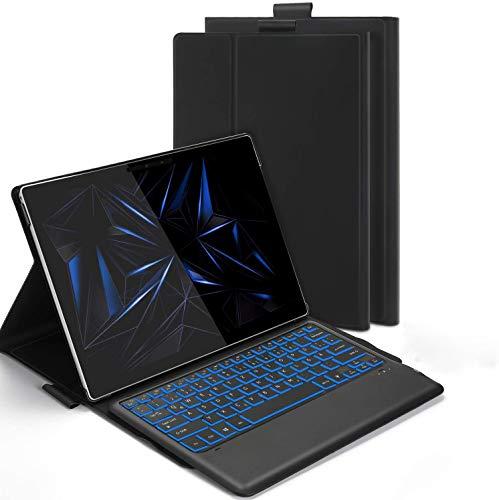 Jelly Comb Beleuchtete Tastatur Hülle für Microsoft Surface Pro 4/5/6/7, QWERTZ Bluetooth Tastatur mit Schützhülle mit 7-farbigen Beleuchtung, Schwarz