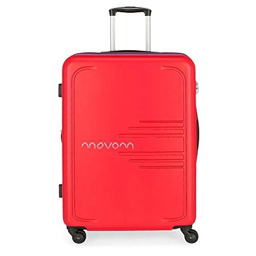 Movom Flash Maleta Grande Rojo 56x79x33 cms Rígida ABS Cierre combinación 125L 4,6Kgs 4 Ruedas Extensible