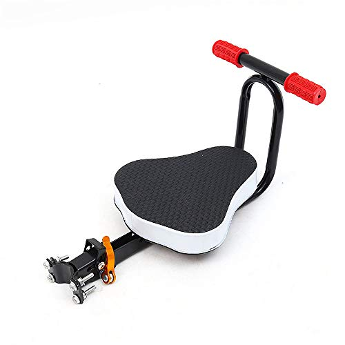 hengguang Bicycle Kids Front Seat with Armrest and Foldable Pedal,Safely Stable Detachable Baby Bike Seat Front Black