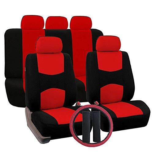 QiKun-Home Mode wasserdichte Lenkradabdeckung Auto Universal Sitzbezug Mit Lenkradabdeckung Schulterabdeckung Stoff Rot