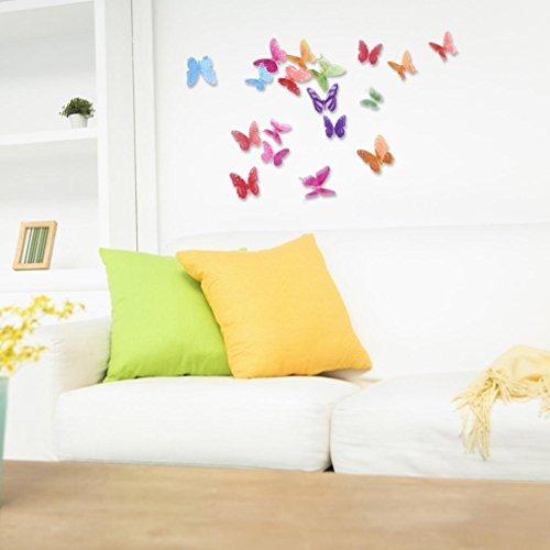 Ouneed Wandaufkleber Wandtattoo Wandsticker , 18 Pack Schmetterling Decal Wall Stickers Decal Butterflies 3D Wall Art Home Decors (B)