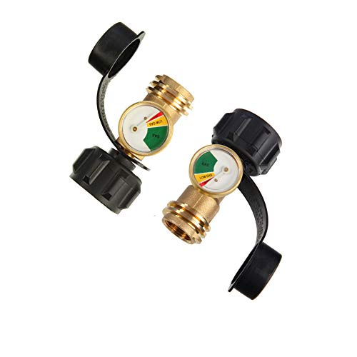 2pcs Propane Tank Gauge Level Indicator with Type 1 Connection, 5lb-40lb Inline Propane Gauge Pressure Meter Leak Detector Universal for BBQ Gas Grill, Cylinder, RV Camper, Heater and More Appliances