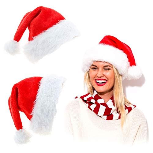 2 Gorro de Papá Noel Sombrero de Santa Gorro de Navidad para Adultos Fiesta de Navidad Gorro Gorro de Papá Noel de Navidad Comodidad en Terciopelo Unisex Piel Clásica Engrosada
