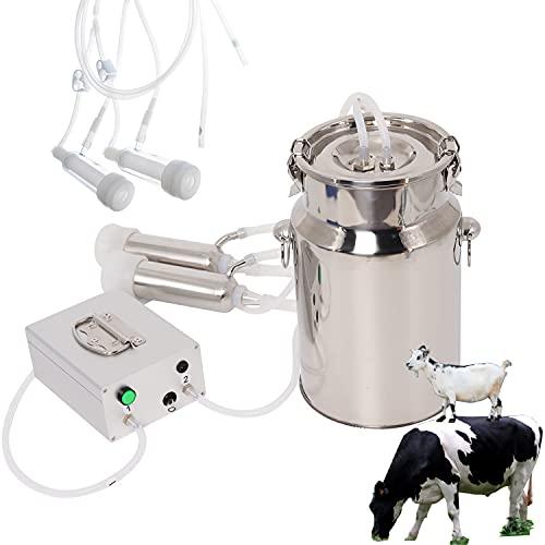 Wadoy Cow Goat Milking Machine, Electric Vacuum Pulsation Pump Milker, 2 in 1 Goat Cow Milker Machine with Pulsator (7L)