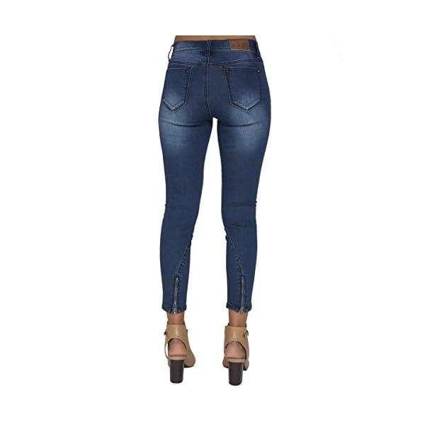 Women's Blue Medium Wash Ankle Zipper Crop Premium Jeans 6
