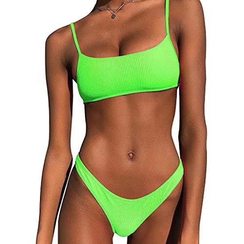 MUGE LEEN Mujeres Sexy 2 Piezas Bikini Set Bandeau Acanalado Traje de baño neón Color sólido Traje de baño Mujer Verde