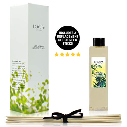 LOVSPA Lemon Zest Reed Diffuser Oil Refill with Replacement Reed Sticks | Scent for Kitchen or Bathroom, 4 oz| Made in The USA