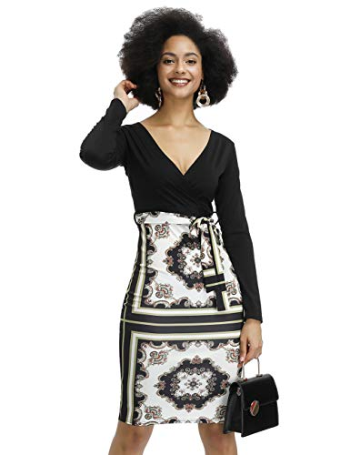 HUHHRRY Women's Vintage Casual V Neck Floral Print Work Office Bodycon Wrap Cocktail Dress