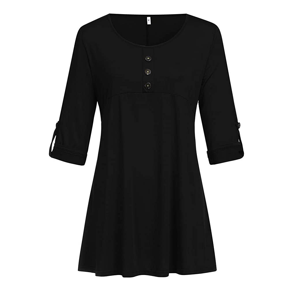 AIMTOPPY Women Plus Size T-Shirt Summer Casual Basic Loose Button O Neck Half Sleeve Blouse Tops