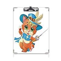 個性的 キングジム:クリップボード カラー A4判タテ型 猫 アイデア多機能メニュー 剣とガラスのワイン騎士の猫銃士猫楽しい漫画アートブルーベージュオレンジ