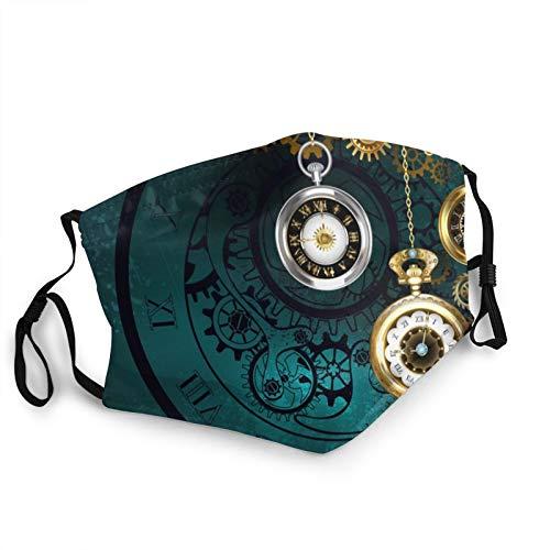 ZVEZVI Steampunk Jewelery - Reloj antiguo con cadenas doradas sobre fondo verde para adultos, protección facial portátil, bandana, borde elástico, pasamontañas
