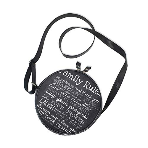 Bolso redondo hecho a mano Cartera redonda Bolso mano circular Reglas la familia Bolso estilo vintage blanco y negro para mujer con correa para el hombro
