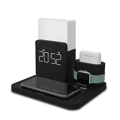 ANOLE - Despertador digital multifuncional 4 en 1, cargador inalámbrico con estación de carga Qi, luz nocturna, soporte para teléfono móvil, para Apple Watch, Smartwatch, Samsung Galaxy, color negro